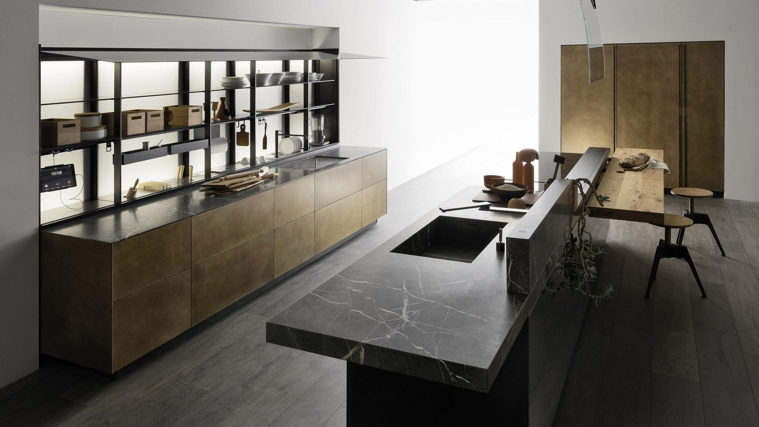 Küche Artematica von Valcucine mit offener Front